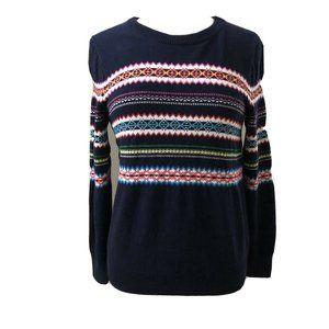 GAP Navy Blue Fair Isle Nordic Multicolor Sweater